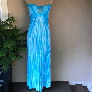 Sky strapless tie dye maxi dress w/lace inset